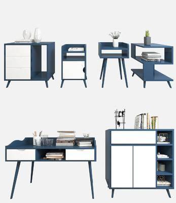 边柜, 装饰柜, 摆件组合, 书桌, 现代