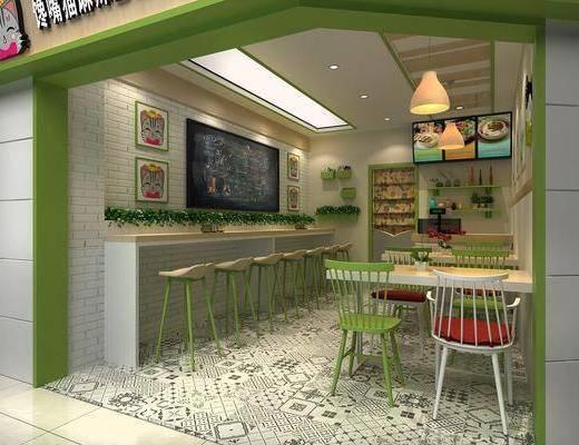 吧台, 餐桌椅, 桌椅组合, 奶茶店, 饮料店