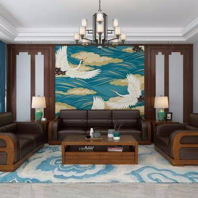 多人沙发, 单人沙发, 茶几, 边几, 摆件, 台灯, 吊灯, 装饰画, 新中式