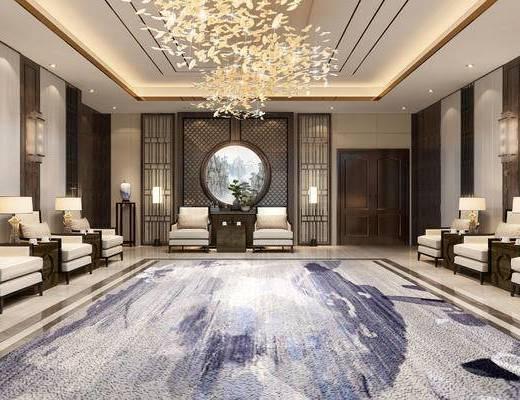 会客厅, 会客室, 洽谈区, 现代, 新中式
