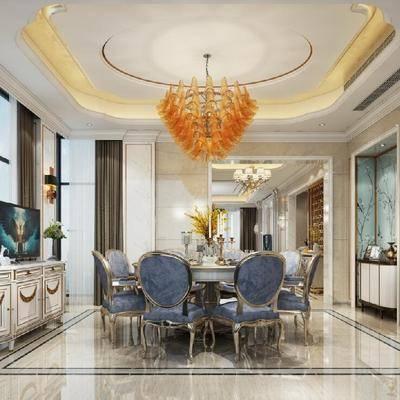餐厅, 餐桌, 餐椅, 吊灯, 边柜, 摆件, 现代