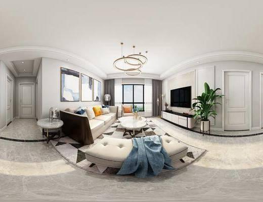沙发组合, 茶几, 吊灯, 电视柜, 装饰画