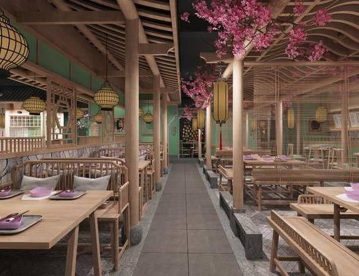 餐厅, 桌椅组合, 吊灯, 装饰品