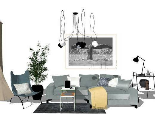 北歐沙發, 沙發組合, 現代吊燈, 現代盆栽, 北歐茶幾