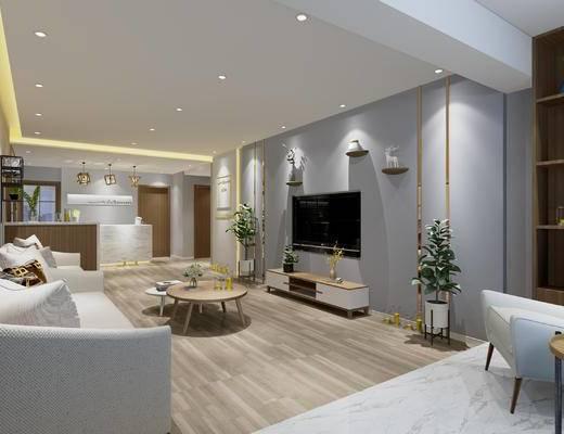 北欧美容中心, 美容美体, 沙发, 茶几, 电视柜, 接待台, 吊灯, 装饰盆栽