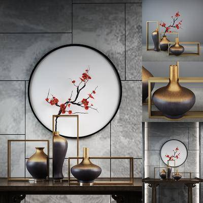 花瓶, 摆件组合, 墙饰, 花卉, 装饰画, 新中式