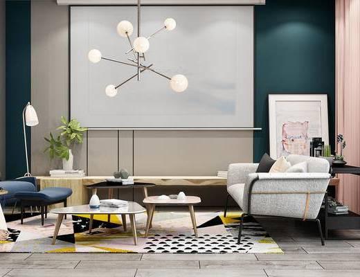 现代沙发组合, 北欧沙发组合, 现代客厅, 北欧客厅, 布艺沙发, 现代茶几, 北欧茶几, 现代吊灯