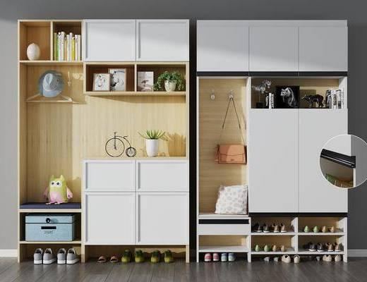 玄关鞋柜, 装饰边柜, 鞋柜, 摆件组合, 北欧