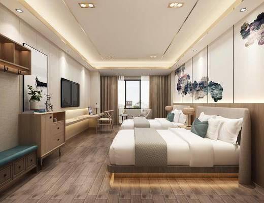 酒店客房, 卧室, 床具组合, 边柜组合, 摆件组合, 新中式
