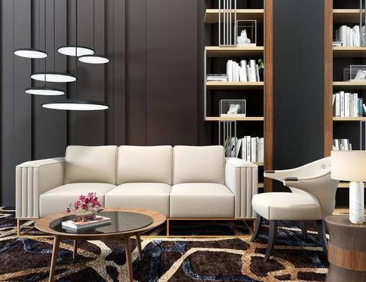 沙发茶几组合, 现代沙发茶几组合, 多人沙发