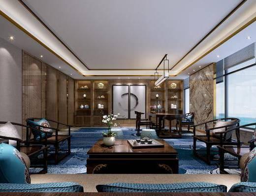 桌椅组合, 吊灯, 茶几, 背景墙, 摆件组合, 装饰柜