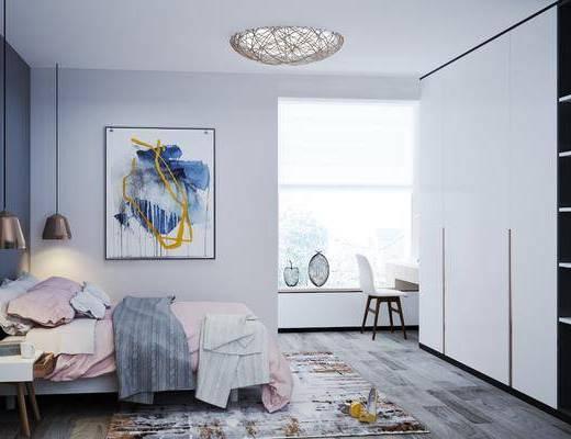 卧室, 北欧卧室, 床具组合, 衣柜, 摆件组合
