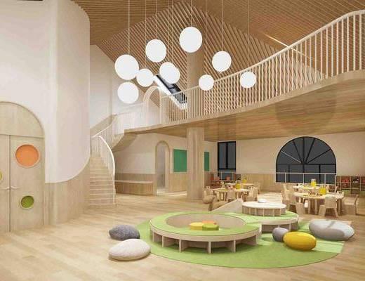 幼儿园, 楼梯, 桌椅组合