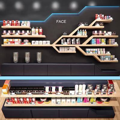现代化妆品展柜摆件组合, 现代, 化妆品, 商品架, 货架