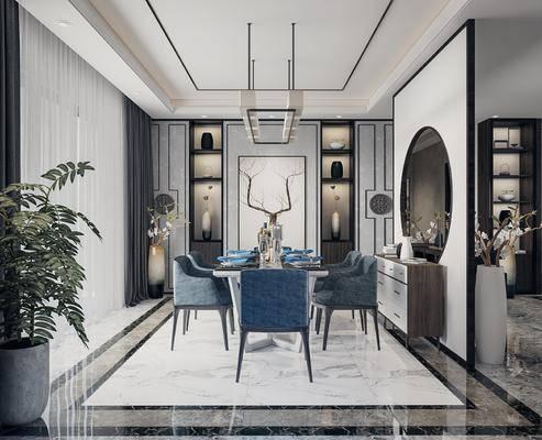 桌椅组合, 装饰画, 吊灯, 端景台, 摆件组合