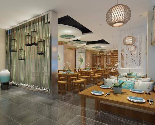 餐厅, 桌椅组合, 餐桌, 餐椅, 单人椅, 餐具, 中式, 吊灯