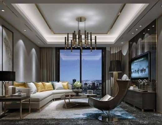 客厅, 多人沙发, 圆弧沙发, 边几, 台灯, 吊灯, 单人沙发, 电视柜, 装饰柜, 边柜, 落地灯, 摆件, 装饰品, 陈蛇品, 现代简约
