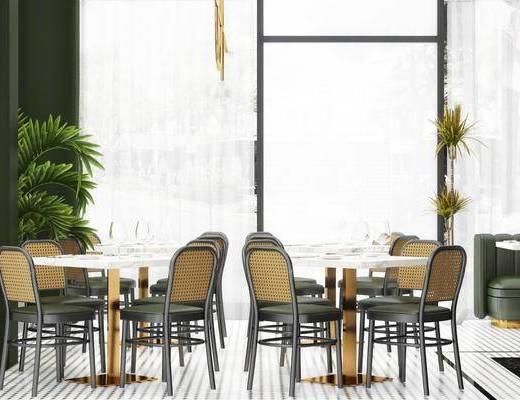桌椅组合, 吊灯, 盆栽植物