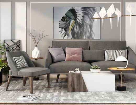 沙发, 茶几, 装饰画, 布艺沙发, 现代吊灯, 植物, 摆件