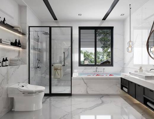 卫生间, 洗手台卫浴组合, 马桶, 装饰镜, 吊灯, 现代