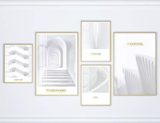装饰画, 组合画, 艺术画, 建筑画, 现代