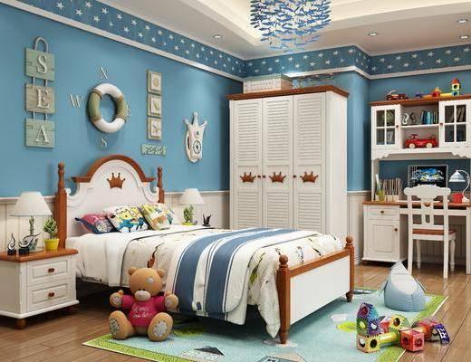 单人床, 玩具, 衣柜, 吊灯, 床具组合, 墙饰, 桌椅组合
