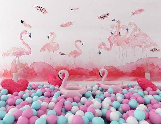 摆件组合, 气球, 现代摆件组合, 丹顶鹤