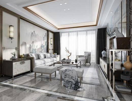 新中式客厅, 新中式, 客厅, 中式壁灯, 中式沙发, 茶几, 中式电视柜