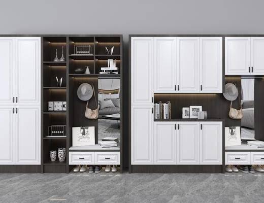 鞋柜, 现代鞋柜, 新中式鞋柜, 摆件组合