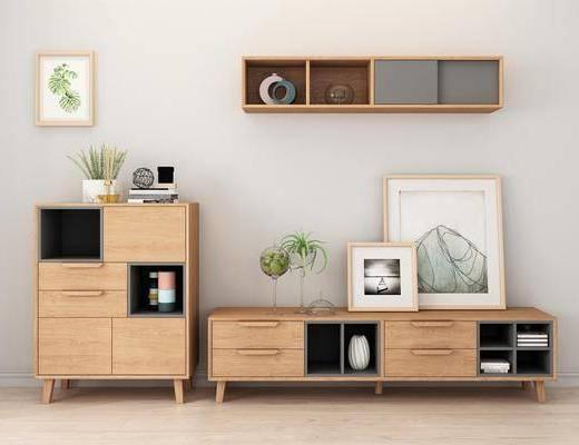 实木电视柜, 边柜, 置物柜, 装饰品, 陈设品, 摆件, 北欧