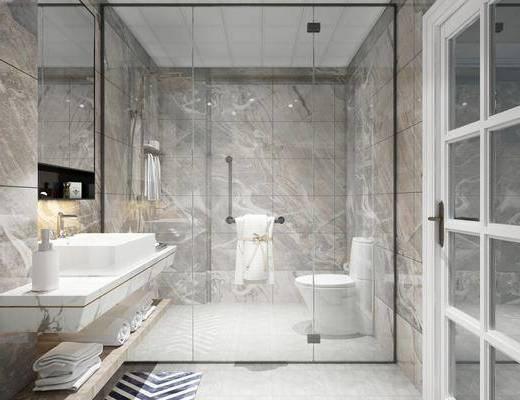现代卫生间, 洗手盆, 便池