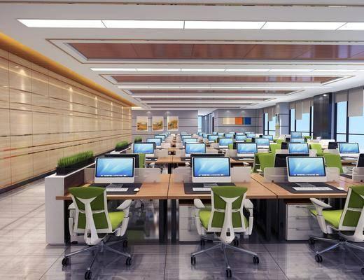办公区, 现代办公区, 桌椅组合, 办公桌, 办公椅, 摆件, 现代