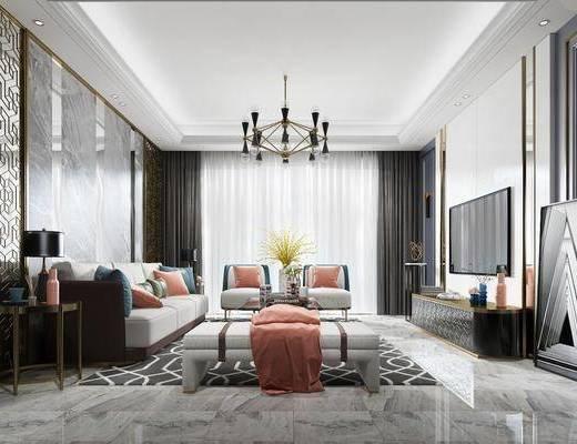 客厅, 多人沙发, 茶几, 单人沙发, 躺椅, 边几, 吊灯, 台灯, 装饰画, 挂画, 壁灯, 电视柜, 边柜, 摆件, 装饰品, 陈设品, 现代轻奢