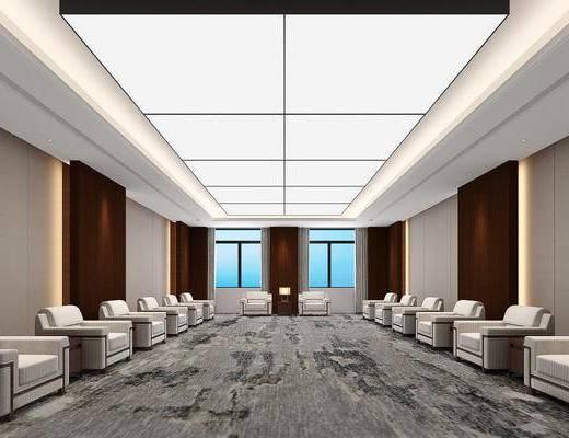 接待室, 会客室, 会议室, 单人沙发组合, 现代