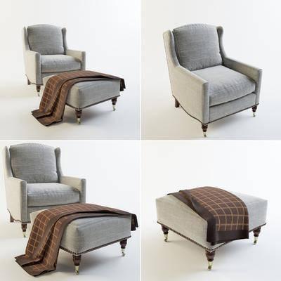 沙发, 单人沙发, 布艺沙发, 沙发凳, 现代