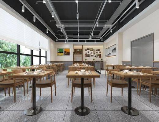 餐厅, 桌子, 单人椅, 组合画, 装饰画, 挂画, 现代