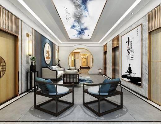 沙发, 茶几, 挂画, 盆栽, 新中式