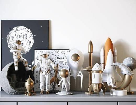 火箭, 月球, 儿童玩具, 装饰, 摆件