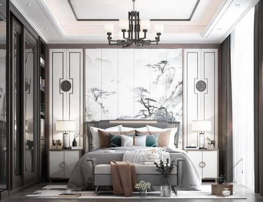 吊灯, 衣柜, 摆件, 台灯, 双人床, 壁画, 壁纸