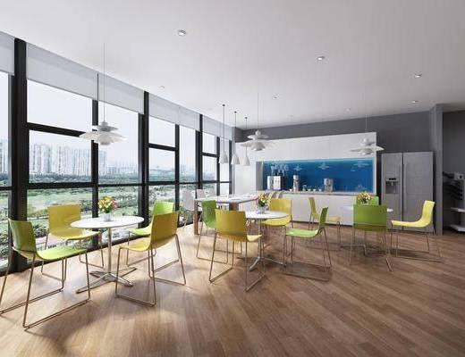 茶水间, 休闲桌椅, 餐桌, 餐椅, 单人椅, 吊灯, 冰箱, 花瓶花卉, 现代