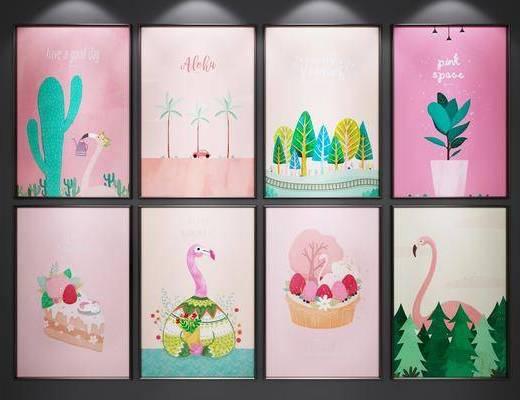 挂画, 卡通装饰画, 儿童房, 装饰画