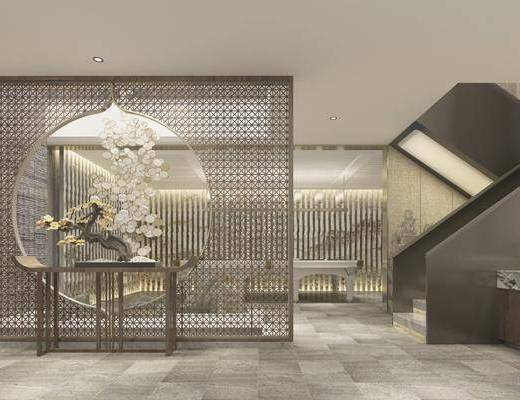 接待室, 案几, 端景台, 洗手台, 吊灯, 楼梯, 摆件, 装饰品, 陈设品, 新中式