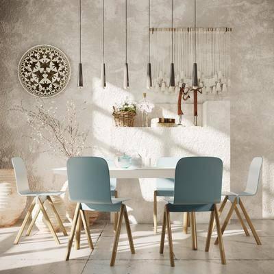 北欧餐厅, 餐桌椅, 吊灯, 墙饰