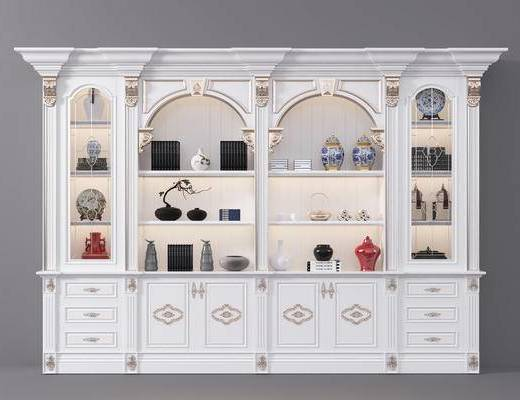 酒柜, 置物柜, 欧式酒柜, 陈设品, 摆件