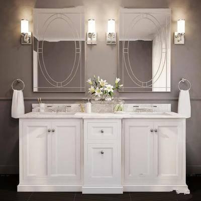 柜架, 卫浴, 洗手盆, 壁灯, 镜子
