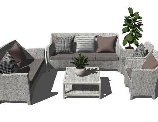 沙发组合, 户外椅, 茶几, 植物