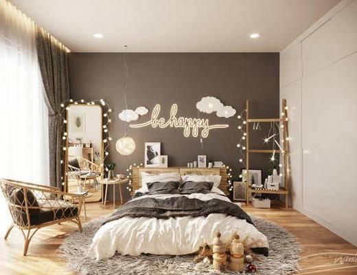 现代卧室, 双人床, 电视柜