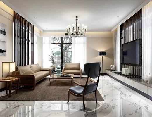 现代客厅, 客厅, 沙发组合, 沙发茶几组合, 现代沙发, 电视柜