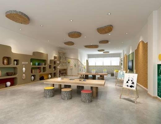 幼儿园手工室, 幼儿园教室, 幼儿园多功能室, 儿童桌椅, 儿童书架, 画架, 玩具