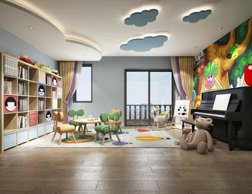 幼儿园, 活动教室, 桌椅组合, 钢琴组合, 书柜书籍, 摆件组合, 现代